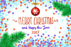 Vector confetti on the table, a hand-written inscription merry christmas and happy new year 2017, christmas tree branch Christmas. Ball art Stock Photo