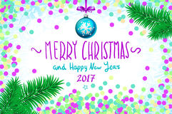 Vector confetti on the table, a hand-written inscription merry christmas and happy new year 2017, christmas tree branch Christmas. Christmas card with confetti royalty free illustration