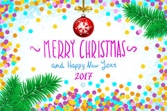 Vector confetti on the table, a hand-written inscription merry christmas. Merry Christmas and Happy New Year 2016 greeting card, vector illustration. confetti Stock Photo