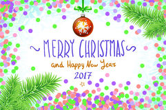 Vector confetti on the table, a hand-written inscription merry christmas. And happy new year 2017, christmas tree branch Christmas ball art Royalty Free Stock Image