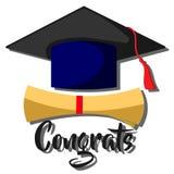 Vector congrats graduatiestijl Royalty-vrije Stock Afbeelding