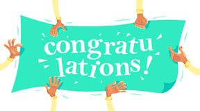 Vector congratulation card with human hands holding greeting banner isolated on white background. Royalty Free Stock Photography