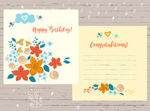 Vector congratulation happy birthday card  for record date on wo Royalty Free Stock Photos