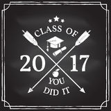 Vector Congratulations graduates Class of 2017 badge. Class of 2017 badge on the chalkboard. Concept for shirt, print, seal, overlay or stamp, greeting stock illustration