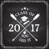 Vector Congratulations graduates Class of 2017 badge. Royalty Free Stock Photos