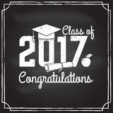 Vector Congratulations graduates Class of 2017 badge. Concept for shirt, print, seal, overlay or stamp, greeting, invitation card. Design with graduation cap Royalty Free Stock Image