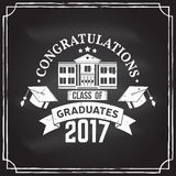Vector Congratulations graduates Class of 2017 badge. Concept for shirt, print, seal, overlay or stamp, greeting, invitation card. Design with graduation cap Stock Images