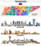 Vector congressional districts map and major cities abstract skylines of Tennessee state. Vector congressional districts map and major cities abstract skylines royalty free illustration