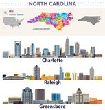 Vector congressional districts map and major cities skylines of North Carolina. Congressional districts map and major cities skylines of North Carolina vector illustration
