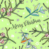 Vector conifer twigs, christmas decorative seamless patterns, green nature background Royalty Free Stock Photos