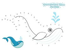 Vector Connect The Dots and Draw Cute Cartoon Whale. Educational Game for Kids. Vector Illustration With Cartoon Style Funny Sea vector illustration