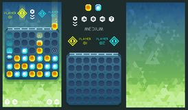 Vector connect four game concept with assets and geometric background. And eps vector illustration