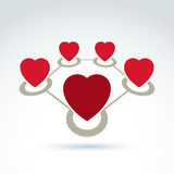 Vector connected loving hearts place in a circles. Location symbol, red Valentine heart sign Stock Photography