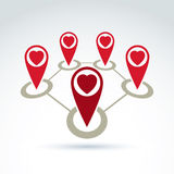 Vector connected map pointers with loving heart icon. Vector connected map pointers with a loving heart icon. Place location symbols, red Valentine heart signs royalty free illustration