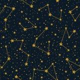 Vector constelações no teste padrão sem emenda do vetor estrelado escuro do céu Fundo do feriado do Natal do inverno Estrelas tir ilustração do vetor