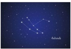 Constellation of Andromeda. Vector Constellation of Andromeda in deep space. Glowing stars, blue background zodiac Stock Photography