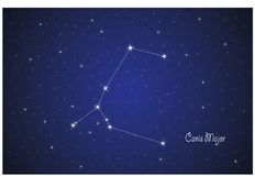 Constellation of Canis Major. Vector Constellation of Canis Major in deep space. Glowing stars, blue background zodiac Stock Images