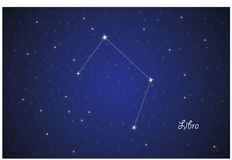 Constellation of Libra. Vector Constellation of Libra  in deep space. Glowing stars, blue background zodiac Stock Photos
