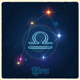Vector constellation Libra with Zodiac sign Royalty Free Stock Photo