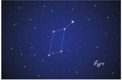 Constellation of Lyre. Vector Constellation of Lyre in deep space. Glowing stars, blue background zodiac Stock Photo