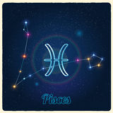 Vector constellation Pisces with Zodiac sign Stock Photography