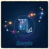 Vector constellation Scorpio with Zodiac sign Stock Photos