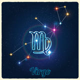 Vector constellation Virgo with Zodiac sign Royalty Free Stock Photography