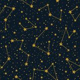 Vector constellations on dark starry sky vector seamless pattern. Winter Christmas holiday background. Stars vector illustration