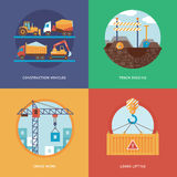Vector constructing, industry of building and development set for web design and mobile apps. Stock Images