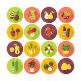 Set of flat design icons for fruits and vegetables. Royalty Free Stock Image