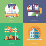 Vector constructing, industry of building and development set for web design and mobile apps. Illustration for metal workshop, col Royalty Free Stock Photography