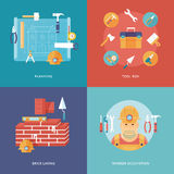 Vector construction and building icons set for web design and mobile apps. Illustration for planning and draft, toolbox equipment, Royalty Free Stock Photos