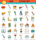 Vector Construction and building tools flat line icon set. Modern elegant style design  for web. Royalty Free Stock Photography