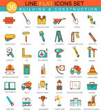 Vector Construction and building tools flat line icon set. Modern elegant style design  for web. Royalty Free Stock Photo