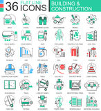 Vector Construction and building tools modern color flat line outline icons for apps and web design. Stock Photography
