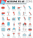 Vector Construction and building tools ultra modern outline artline flat line icons for web and apps. Royalty Free Stock Photography