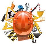 Vector Construction Concept with Helmet Stock Photos