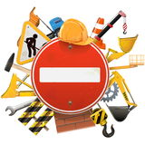 Vector Construction Concept with Red Sign Royalty Free Stock Photos