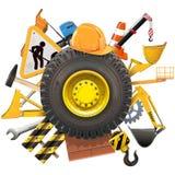 Vector Construction Concept with Wheel Stock Photos