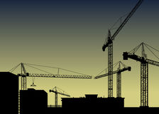Vector construction crane silhouette industry  architecture Stock Image
