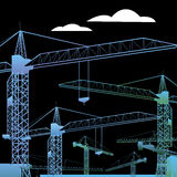 Vector construction crane silhouette industry illustration archi Stock Photography