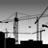 Vector construction crane silhouette industry illustration archi. Vector construction crane silhouette industry illustration Royalty Free Stock Image