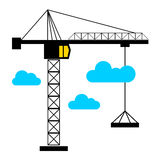 Vector construction crane silhouette industry illustration archi. Vector construction crane silhouette industry illustration Stock Photo
