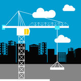 Vector construction crane silhouette industry illustration archi. Vector construction crane silhouette industry illustration Royalty Free Stock Images