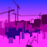 Vector construction crane silhouette industry illustration archi Royalty Free Stock Images