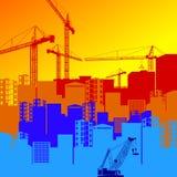 Vector construction crane silhouette industry illustration archi. Vector construction crane silhouette industry illustration Royalty Free Stock Photos