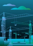 Vector construction crane silhouette industry illustration. Architecture Stock Photography