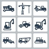 Vector construction equipment icons Stock Images