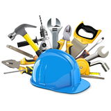 Vector Construction Helmet with Instruments. Isolated on white background Stock Photo