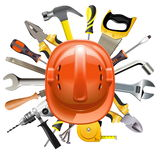 Vector Construction Helmet with Tools. Isolated on white background Royalty Free Stock Photos